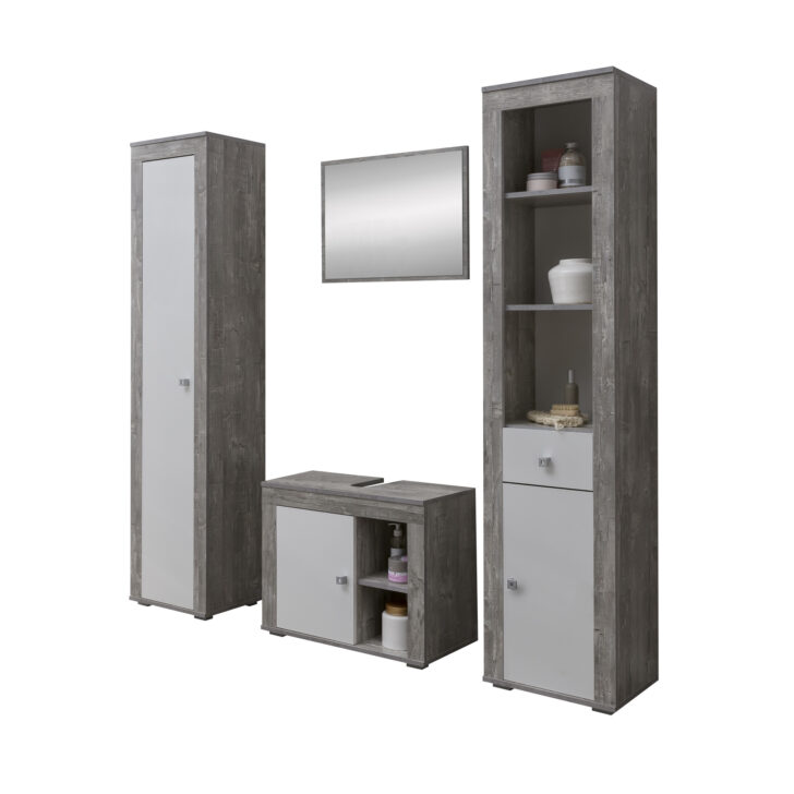 Medium Size of Badmbel Set Rgen 4 Teilig 145 Cm Breit Wei Betongrau Ausgefallene Betten Möbelgriffe Küche Wohnzimmer Ausgefallene Möbelgriffe