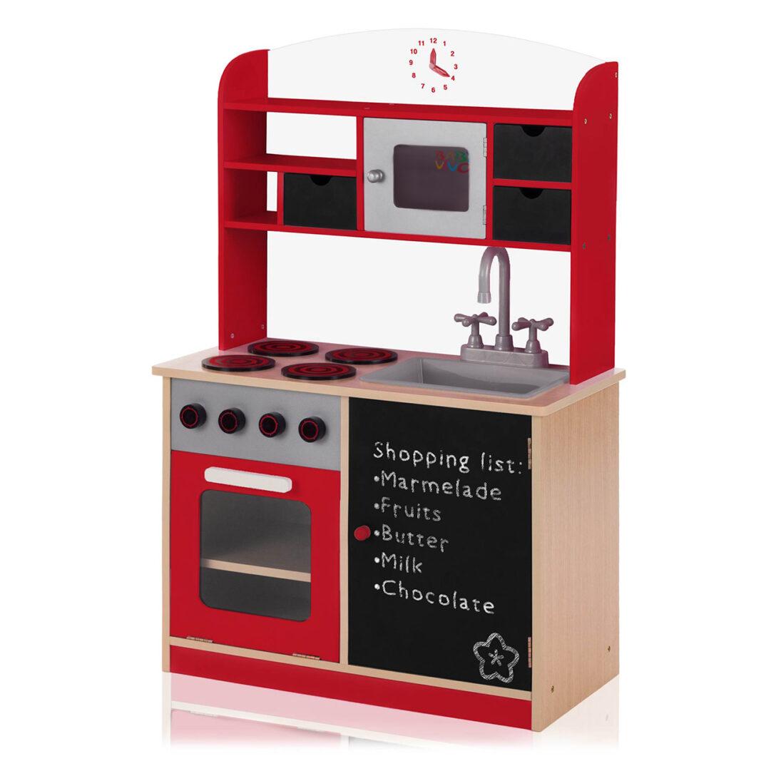 Large Size of Baby Vivo Kinderkche Spielkche Aus Holz Mit Tafel Mila In Rot Kinder Spielküche Wohnzimmer Spielküche
