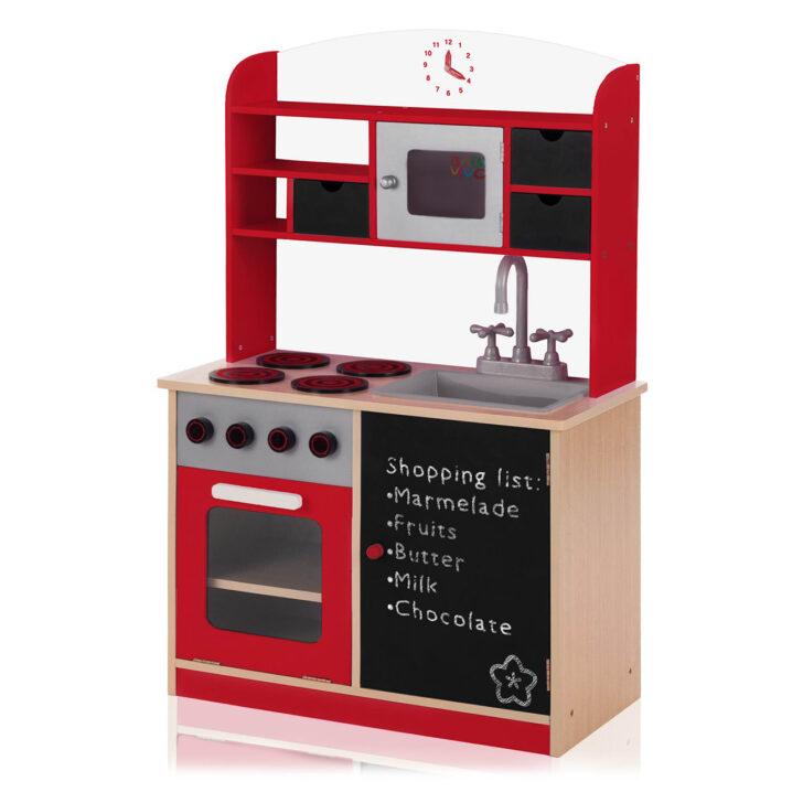 Medium Size of Baby Vivo Kinderkche Spielkche Aus Holz Mit Tafel Mila In Rot Kinder Spielküche Wohnzimmer Spielküche