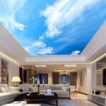 Wohnzimmer Nach 3d Wandbild Tapete Zimmer Landschaft Blauen Himmel Und Led Schlafzimmer Stehlampe Gardinen Für Küche Großes Bild Bett Xxl Fototapeten Bad Wohnzimmer Wohnzimmer Decke