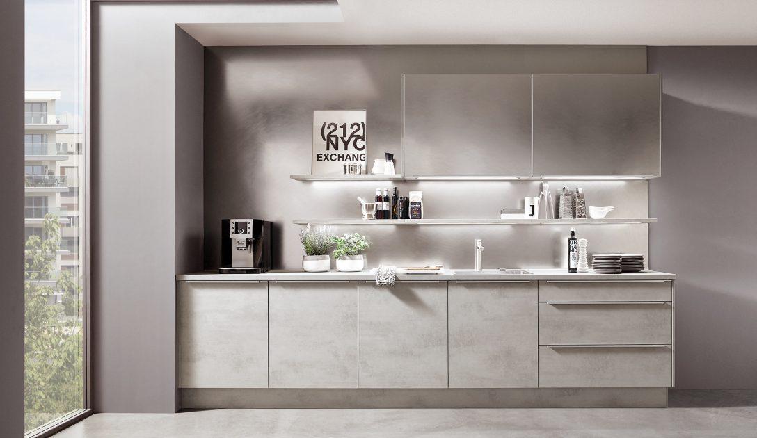 Large Size of Küchen Quelle Moderne Einbaukche Norina 2371 Beton Grau Nachbildung Kchenquelle Regal Wohnzimmer Küchen Quelle