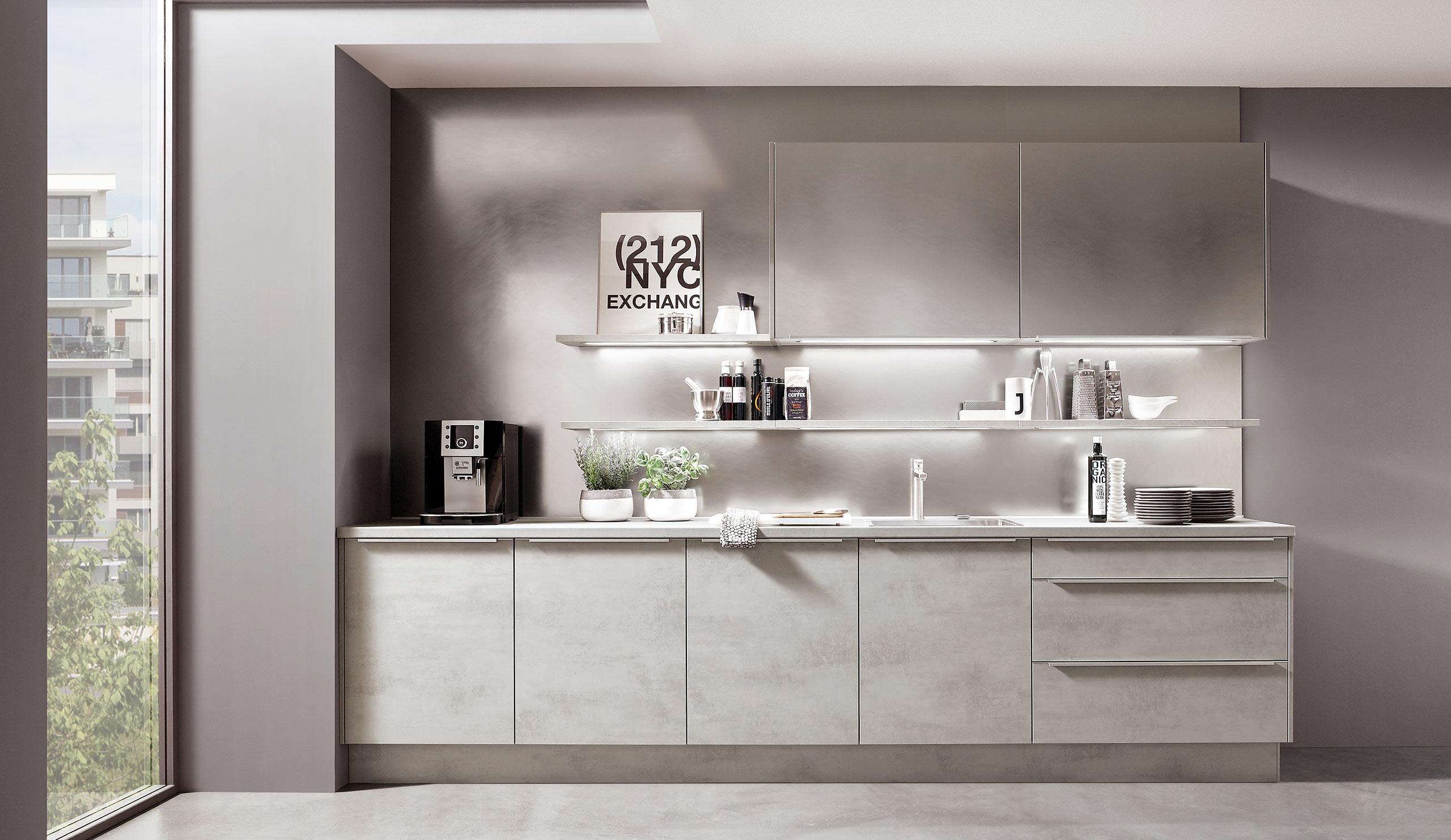 Full Size of Küchen Quelle Moderne Einbaukche Norina 2371 Beton Grau Nachbildung Kchenquelle Regal Wohnzimmer Küchen Quelle