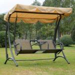 Outsunny 2 Sitzer Hollywoodschaukel Schaukel Mit Sonnendach Regal Metall Bett Regale Weiß Wohnzimmer Gartenschaukel Metall