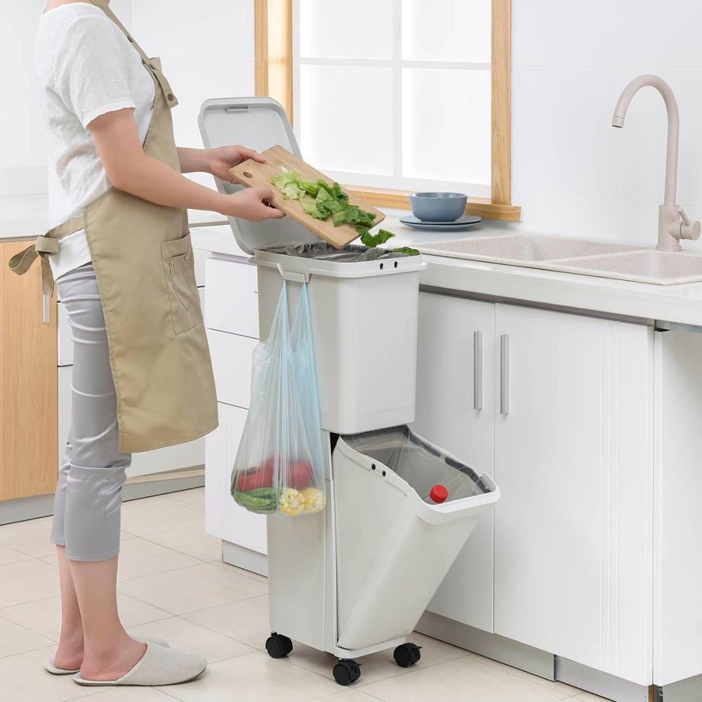 Full Size of Doppel Mülleimer Kunststoff Groe Schichten Mlleimer Kche Abfall Einbau Küche Doppelblock Wohnzimmer Doppel Mülleimer
