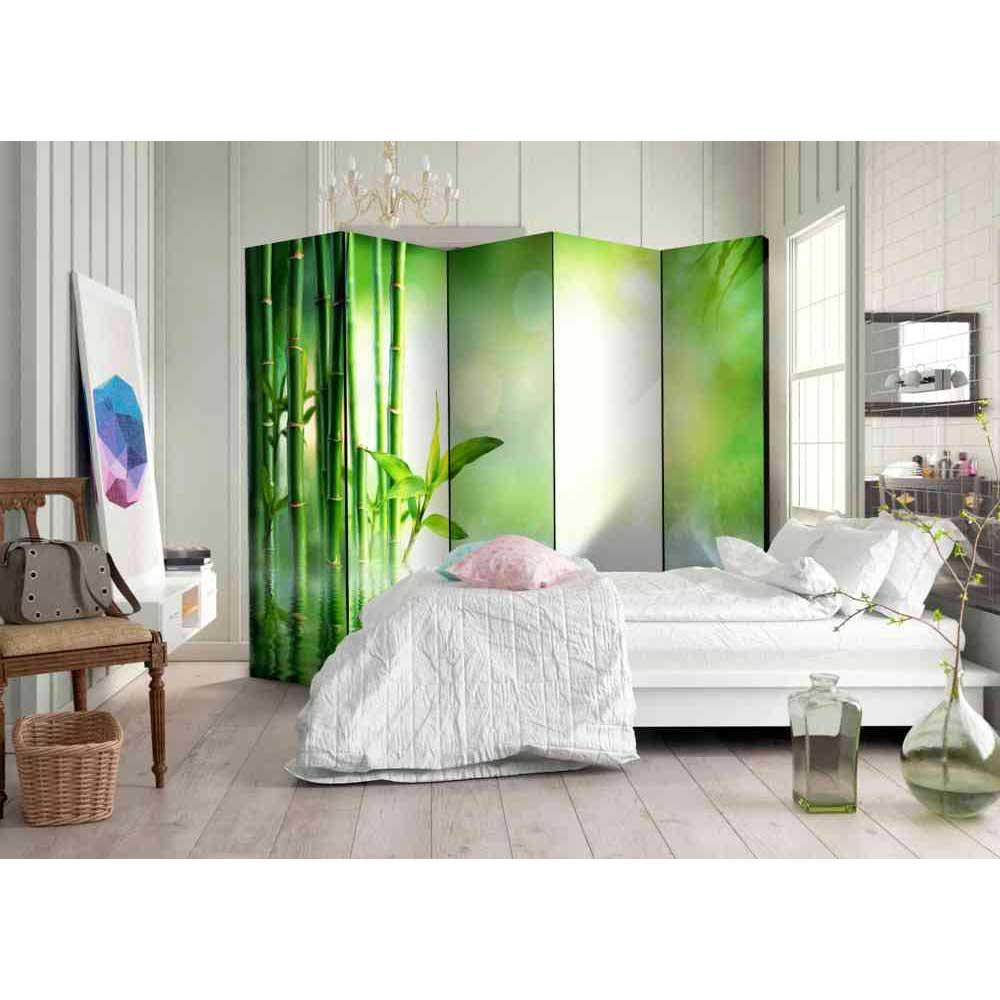 Full Size of Paravent Bambus Trennwand Movie Mit Motiv In Grn Und Wei Garten Bett Wohnzimmer Paravent Bambus