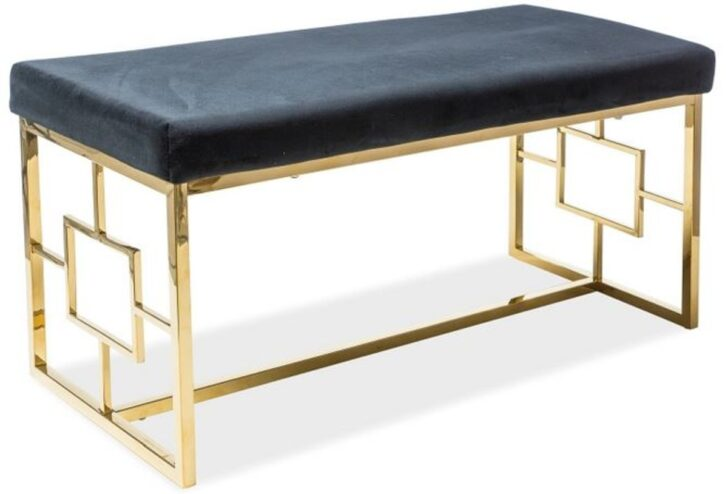Medium Size of Gepolsterte Sitzbank Casa Padrino Luxus Schwarz Gold 100 46 H 48 Cm Schlafzimmer Bad Bett Mit Gepolstertem Kopfteil Küche Lehne Garten Wohnzimmer Gepolsterte Sitzbank