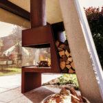 Kamin Und Ofengestaltung Wohnzimmer Holzlege Cortenstahl