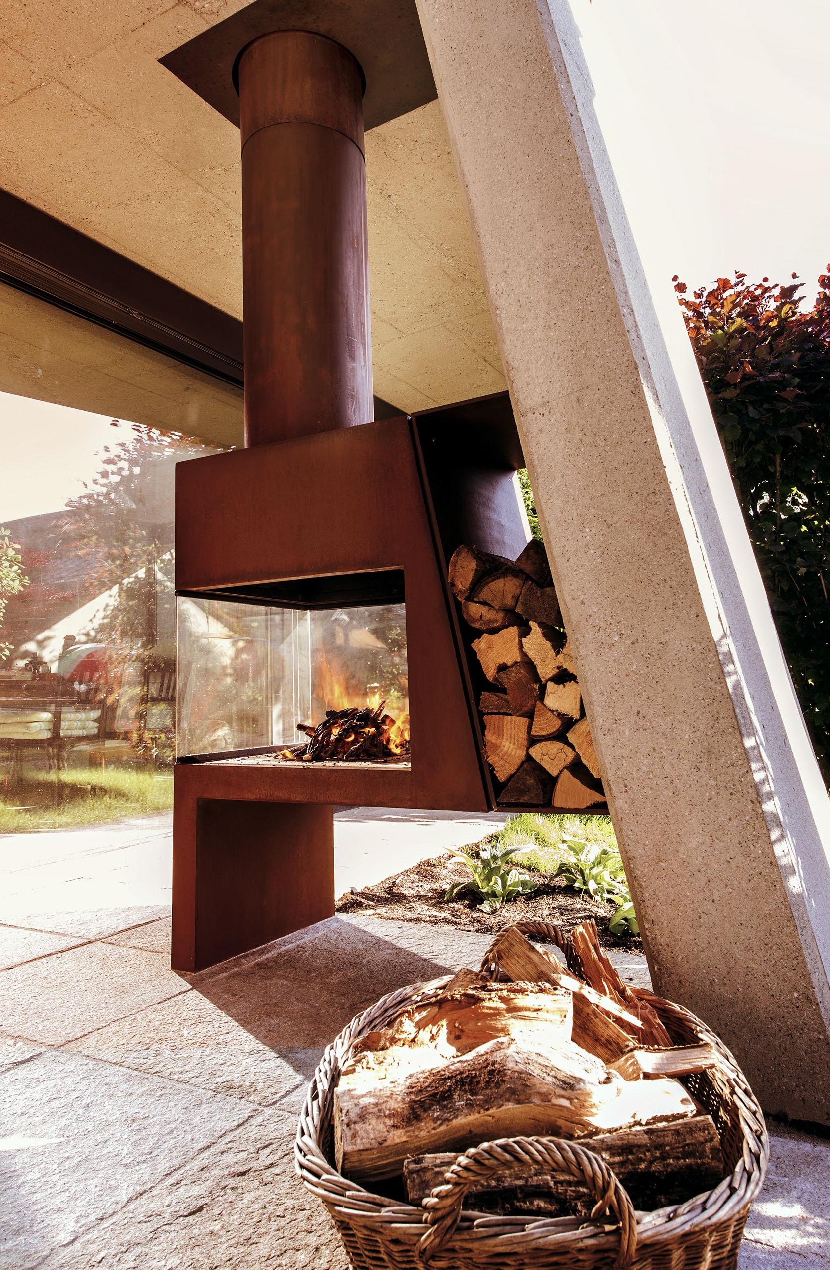 Full Size of Kamin Und Ofengestaltung Wohnzimmer Holzlege Cortenstahl