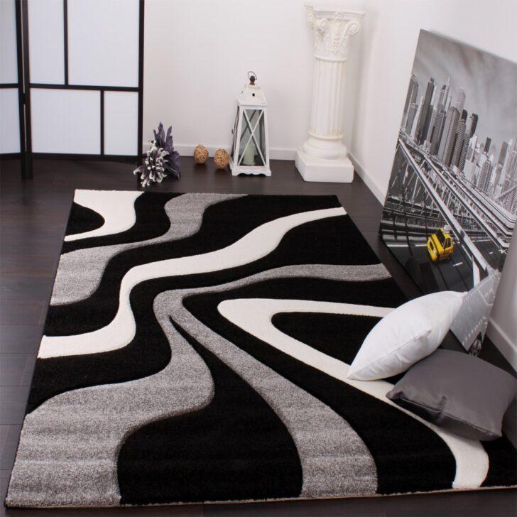 Designer Teppich Schwarz Grau Teppichcenter24 Bett Weiß 180x200 Kleiner Esstisch Küche Holz Weißer Mit Schubladen Oval Regal Hochglanz Weißes Wohnzimmer Wohnzimmer Teppich Schwarz Weiß