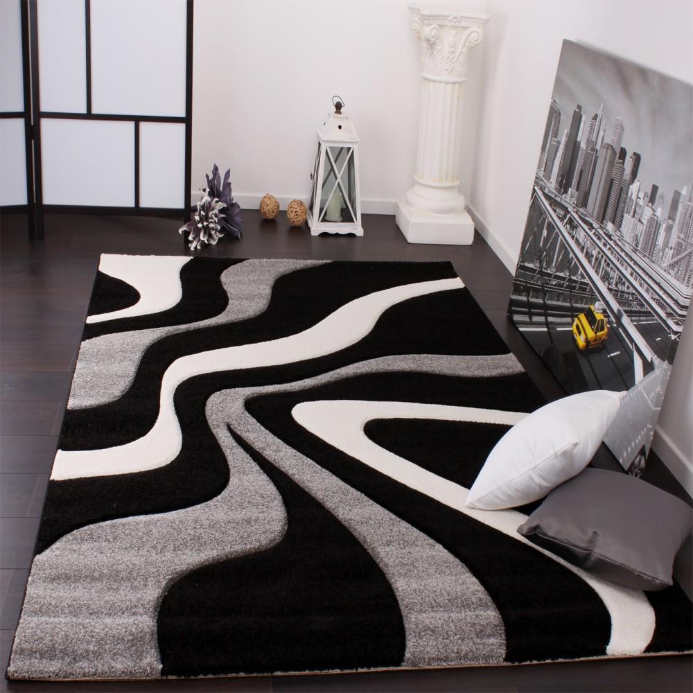 Full Size of Designer Teppich Schwarz Grau Teppichcenter24 Bett Weiß 180x200 Kleiner Esstisch Küche Holz Weißer Mit Schubladen Oval Regal Hochglanz Weißes Wohnzimmer Wohnzimmer Teppich Schwarz Weiß
