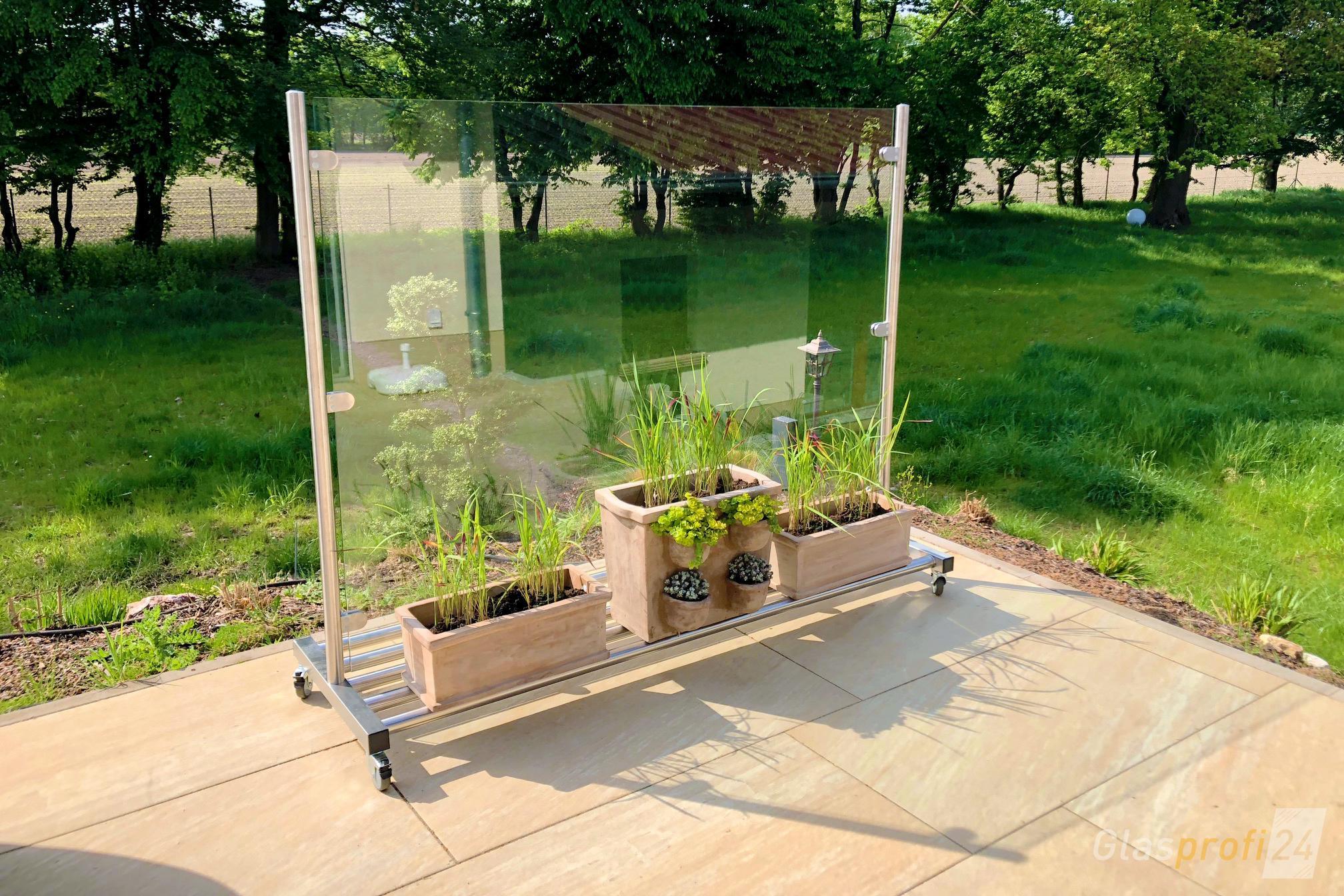 Full Size of Glas Windschutz Auf Rollen Glasprofi24 Paravent Garten Wohnzimmer Paravent Balkon Hornbach