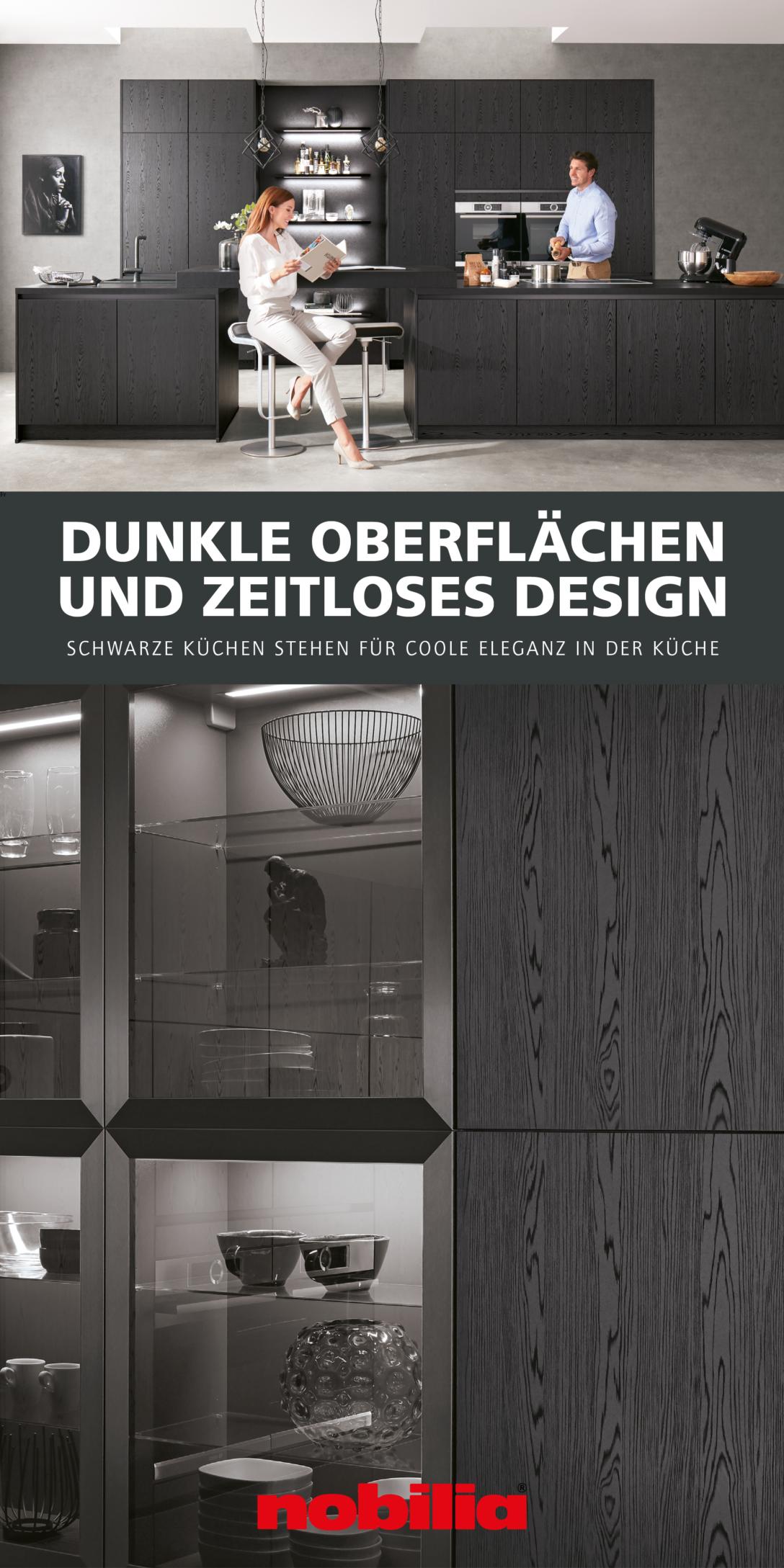 Large Size of Nobilia Alba Modernes Kchendesign Trifft Auf Dunkle Tne Das Elegante Dekor Einbauküche Küche Wohnzimmer Nobilia Alba