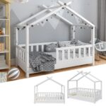 Hausbett 100x200 Wohnzimmer Hausbett 100x200 Kinderbett Design Wei 70x140cm Zaun Real Bett Mit Weiß Betten