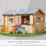 Spielhaus Ausstellungsstück Fun Park 2 Garten Holz Kunststoff Bett Kinderspielhaus Küche Wohnzimmer Spielhaus Ausstellungsstück