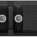 Kchensple Sple Einbausple Granitsple Mineralite 100 50 Schwarzes Bett 180x200 Schwarz Weiß Schwarze Küche Wohnzimmer Spülstein Schwarz