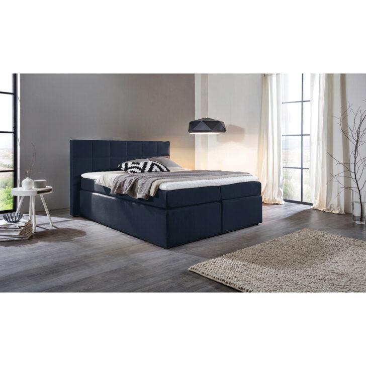 Medium Size of Komplettbett 180x220 Boxspringbett Bea Kunstleder Cm Dunkelblau H3 Bett Wohnzimmer Komplettbett 180x220