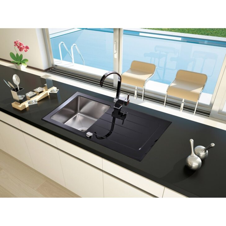 Spülstein Schwarz Respekta Glassple New York 86 Cm 50 Kaufen Bei Obi Bett 180x200 Weiß Schwarze Küche Schwarzes Wohnzimmer Spülstein Schwarz