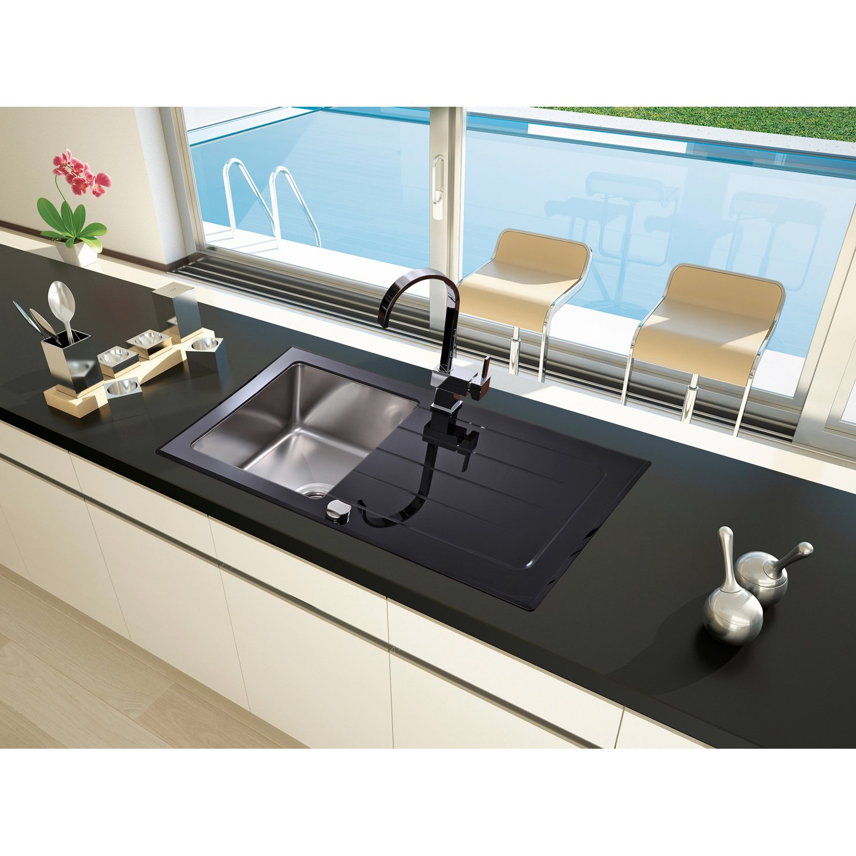 Full Size of Spülstein Schwarz Respekta Glassple New York 86 Cm 50 Kaufen Bei Obi Bett 180x200 Weiß Schwarze Küche Schwarzes Wohnzimmer Spülstein Schwarz