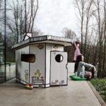 Spielhaus Ausstellungsstück Garten Holz Kunststoff Küche Bett Kinderspielhaus Wohnzimmer Spielhaus Ausstellungsstück
