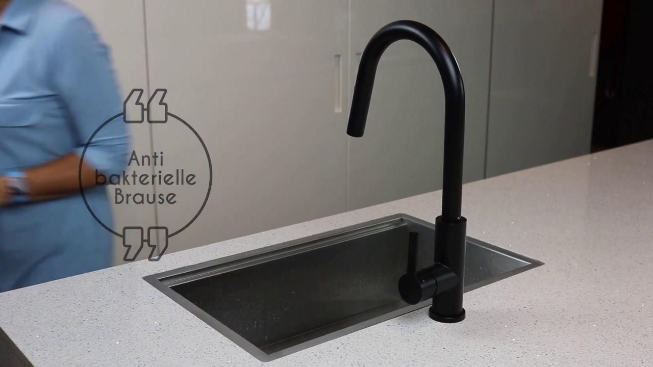 Full Size of Schwarze Kchenarmatur Mizzo Trigo Mit Brause Ausziehbar Youtube Wasserhahn Bad Küche Wandanschluss Für Ausziehbarer Esstisch Wohnzimmer Ausziehbarer Wasserhahn Undicht