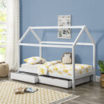 Hausbett 100x200 Encasa Kinderbett Mit Bettkasten 90x200cm Haus Holz Wei Betten Bett Weiß Wohnzimmer Hausbett 100x200