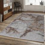 Teppich Waschbar Brillant Marmor Optik Beige Edel Modern Muster Wohnzimmer Teppiche Für Küche Schlafzimmer Esstisch Badezimmer Steinteppich Bad Wohnzimmer Teppich Waschbar