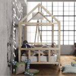 Kinderbett Hausbett Mit Rausfallschutz Holz Bett Weiß 100x200 Betten Wohnzimmer Hausbett 100x200