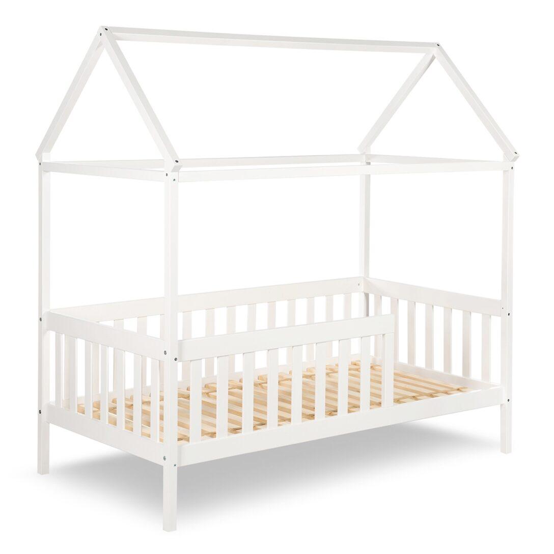Hausbett 100x200 Kleinkind Bett Jojunior Mit Gitterrand Wei 80x160cm Bei Betten Weiß